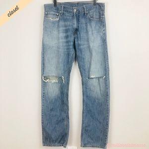 [Levi's] Men's 514 Straight Fit Torn Knee Jeans